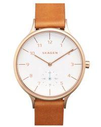Skagen - 'anita' Leather Strap Watch - Lyst