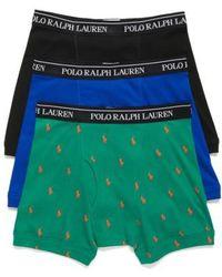 Polo Ralph Lauren | Assorted 3-pack Cotton Boxer Briefs, Green | Lyst