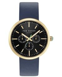 Ted Baker | Jack Multifunction Leather Strap Watch | Lyst
