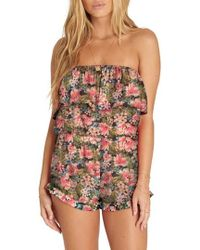 Billabong - Pocket Flower Strapless Romper - Lyst