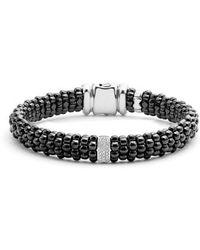 Lagos - Black Caviar Ceramic Bracelet With Sterling Silver And 1 Diamond Bar - Lyst