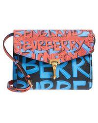 Burberry - Small Macken Graffiti Print Leather Crossbody Bag - Lyst