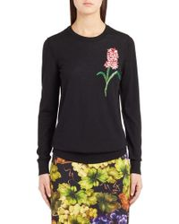 Dolce & Gabbana - Flower Embellished Wool Sweater - Lyst