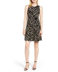 Anne Klein - Greenwich Print Fit & Flare Dress - Lyst