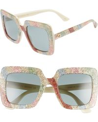 255ba76346 Gucci 53mm Oversized Square Glitter Sunglasses in Natural - Lyst