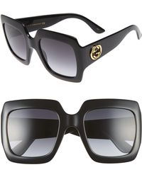 1bd580ff7fc Lyst - Gucci Square 59mm Crystal Horsebit Sunglasses in Black