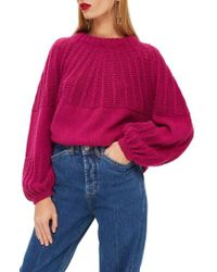 TOPSHOP - Pointelle Ball Sleeve Sweater - Lyst