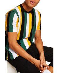 TOPMAN - Stripe T-shirt - Lyst