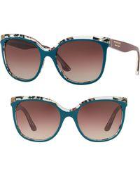Burberry - Marblecheck 55mm Square Sunglasses - Dark Green Gradient - Lyst