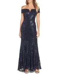 Vince Camuto - Off The Shoulder Sequin Embellished Gown - Lyst