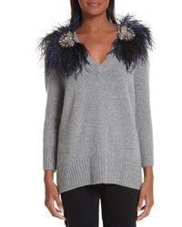 Johanna Ortiz - Hierbatera Ostrich Feather Trim Sweater - Lyst