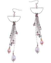Nakamol - Freshwater Pearl & Chain Statement Earrings - Lyst