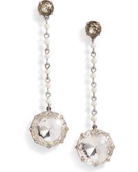 Tory Burch - Imitation Pearl & Crystal Linear Earrings - Lyst