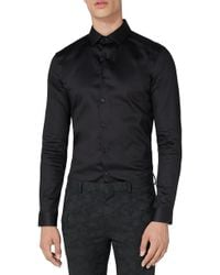 TOPMAN - Muscle Fit Satin Shirt - Lyst