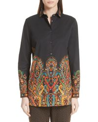 Etro - Scrolling Paisley Print Stretch Cotton Top - Lyst