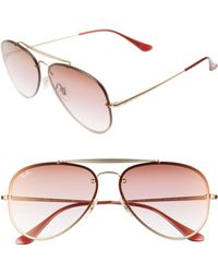 ab78d7b1f62c5 Lyst - Ray-Ban 55mm Gradient Lens Round Aviator Sunglasses in ...