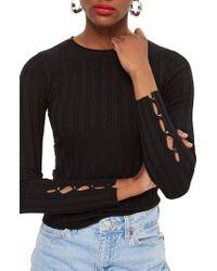 TOPSHOP - Ribbed Sweater - Lyst