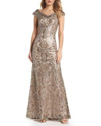 Tadashi Shoji - Embroidered Sequin A-line Gown - Lyst