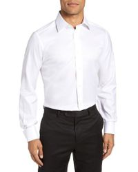 David Donahue - Trim Fit Solid French Cuff Tuxedo Shirt - Lyst