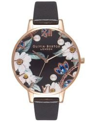 Olivia Burton - Bejeweled Florals Leather Strap Watch - Lyst