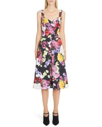 Dolce   Gabbana - Floral Print Brocade Bustier Dress - Lyst 89be3c526