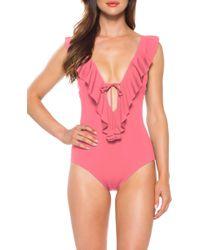 18d0b2ed8845e1 Becca - Socialite Ruffle One-piece Swimsuit - Lyst
