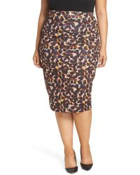 Lost Ink - Leopard Spot Pencil Skirt - Lyst