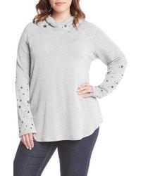 Karen Kane - Star Print Hooded Pullover Top - Lyst