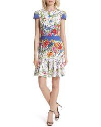 MILLY - Karissa Floral Stretch Cotton Dress - Lyst