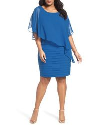 Adrianna Papell - Chiffon Overlay Shutter Pleat Sheath Dress - Lyst