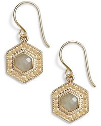 Anna Beck - Grey Moonstone Hexagon Drop Earrings - Lyst