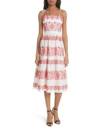 MILLY - Mykonos Embroidered Linen Sundress - Lyst