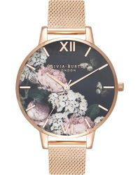 7d7ebc86996 Olivia Burton - Signature Floral Mesh Strap Watch - Lyst