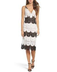 Dress the Population - Vera Crochet Stripe Sheath Dress - Lyst