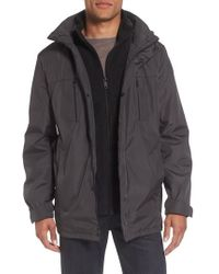 Kenneth Cole Reaction | Hooded Jacket With Inset Fleece Bib | Lyst