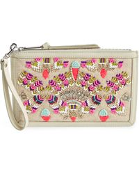 Rebecca Minkoff - Beaded Jute & Leather Wristlet - - Lyst
