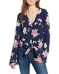 Cupcakes And Cashmere - Jerome Floral Bell Sleeve Top - Lyst