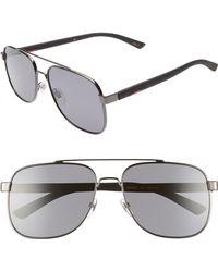17c9c86628 Lyst - Gucci Navigator 61mm Aviator Sunglasses - Ruthenium for Men