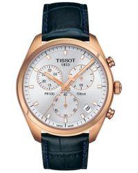 Tissot | Pr100 Chronograph Leather Strap Watch | Lyst