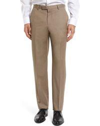 BOSS - Leenon Flat Front Regular Fit Solid Wool Trousers - Lyst