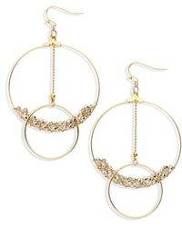 Panacea - Crystal Beaded Lyrd Circle Earrings - Lyst