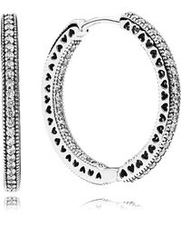 PANDORA - Hearts Of Hoop Earrings - Lyst