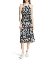 Joie - Deme Floral High/low Silk Dress - Lyst
