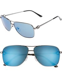 Ferragamo - Gancio 61mm Aviator Sunglasses - Shiny Dark Gunmetal - Lyst