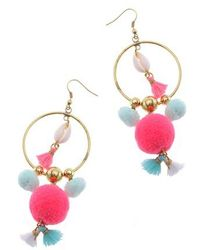 Nakamol - Pom Hoop Earrings - Lyst
