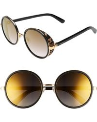 abd857cf85b Lyst - Jimmy Choo Dave 2m2 k1 Black Gold Round Sunglasses in Metallic