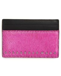 Alexander Wang - Dime Leather Card Case With Genuine Calf Hair - - Lyst