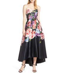 772bd1d7b88 Sequin Hearts - Strapless High low Satin Evening Dress - Lyst