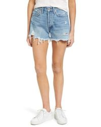 Agolde - Parker Distressed Denim Shorts - Lyst