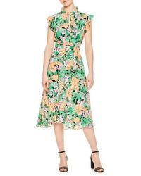Sandro - Ruffle Neck Floral Silk Dress - Lyst